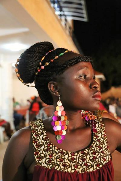 African themed accesories on Atim Patricia of MODO House of fashion