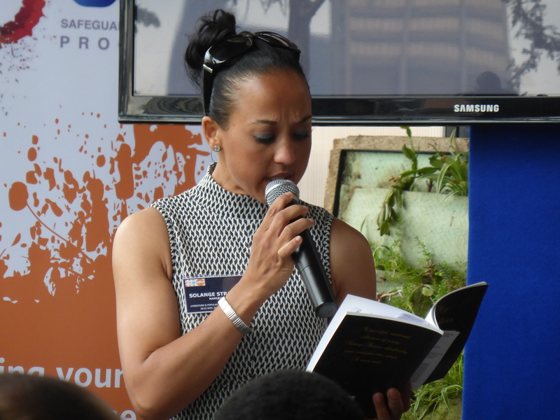 Solange Strauss reading at the Safeguard Young People launch. UNFP. 2014